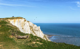 Warning sign at Beachy Head, East Sussex Stock Image