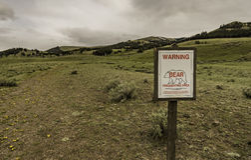 Warning sign for bear at Yellowstone National park Royalty Free Stock Photos