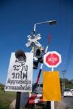 Warning sign beware train Stock Photography