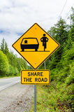 Warning Sign about Bicycle on the Road Stock Photo