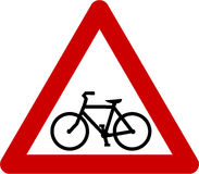 Warning sign with bicycle Royalty Free Stock Image