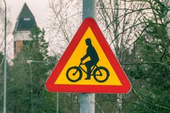 Be aware of bicycles Royalty Free Stock Image
