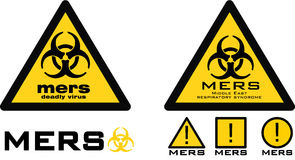 Warning sign with biohazard symbol and mers text. Vector illustration of two road warning signs with biohazard symbol and mers text Royalty Free Stock Photo