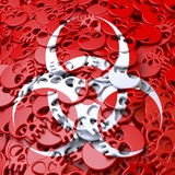 Warning sign Biohazard, white, red skulls. White warning sing, symbol over cluster, pool of red skulls, 3d rendering Stock Photos