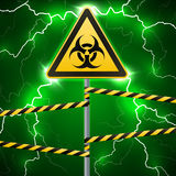 Warning sign. Biological hazard. Fenced danger zone. A pillar with a sign. Thunderbolts. Outbreak sparks. Fantastic background. Ve Royalty Free Stock Image