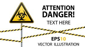 Warning sign. Biological hazard. Fenced danger zone. A pillar with a sign. Vector illustrations Royalty Free Stock Photo