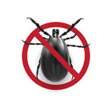 Warning sign in black and white.. Harvest bug on a white background with shadow. illustration Royalty Free Stock Image