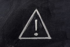 Warning sign on blackboard Stock Image