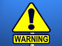 Warning Sign with Blue background. Yellow warning sign against a blue background Stock Photos