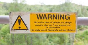 Warning sign at a bridge Royalty Free Stock Photography