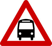 Warning sign with bus Royalty Free Stock Photos