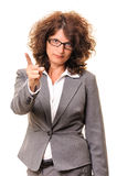 Warning sign business woman Stock Photography