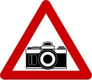 Warning sign with camera vector illustration