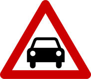 Warning sign with car Royalty Free Stock Image