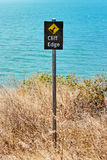 Warning sign cliff edge Royalty Free Stock Images