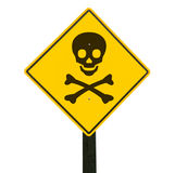 Warning sign, clipping path. Yellow traffic sign with skull and crossbones, isolated, clipping path Royalty Free Stock Photo