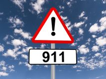 911 warning sign Stock Photos