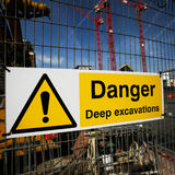 Warning sign at construction site Royalty Free Stock Image
