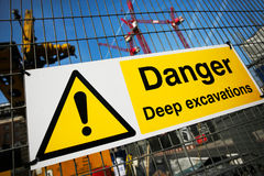 Warning sign at construction site Stock Photos