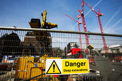 Warning sign at construction site Royalty Free Stock Images