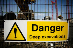 Warning sign at construction site Royalty Free Stock Photography