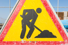 Warning sign at a construction site Royalty Free Stock Photography
