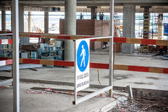 Warning sign on construction work Royalty Free Stock Image