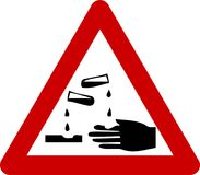 Warning sign with corrosive substances Stock Photos