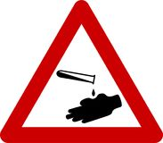 Warning sign with corrosive substances. Symbol Stock Photography
