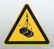 Warning sign for cranes  Royalty Free Stock Photos