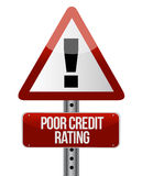Warning sign with a credit rating concept. Illustration Stock Photography