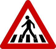 Warning sign with crosswalk Stock Photography