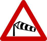Warning sign with crosswinds Stock Images