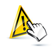 Warning sign and cursor hand Stock Image