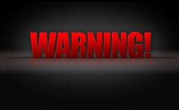 Warning Sign 3D Letters on Black Background Stock Images
