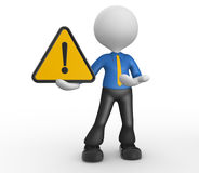 Warning sign. 3d people - man, person with warning sign Stock Photos