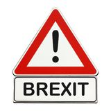 Brexit danger sign isolated over white Royalty Free Stock Photo