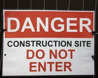 Warning Sign Danger Construction Royalty Free Stock Images