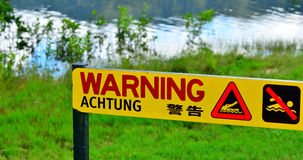 Warning sign - danger crocodiles, no swimming in Queensland, Aus Stock Images