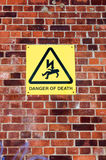 Warning sign 'Danger of Death' Royalty Free Stock Photo