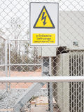 Warning sign, danger high voltage, safety concept Stock Photos