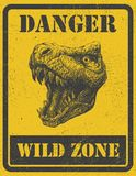Warning sign. danger signal with dinosaur. eps 8 Royalty Free Stock Images