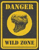 Warning sign. danger signal with dinosaur. eps 8 Royalty Free Stock Photography