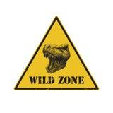 Warning sign. danger signal with dinosaur. eps 8 Royalty Free Stock Image