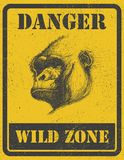 Warning sign. danger signal with gorilla. eps 8 Royalty Free Stock Photography