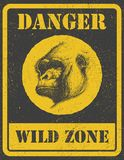 Warning sign. danger signal with gorilla. eps 8 Royalty Free Stock Photo