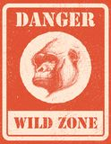 Warning sign. danger signal with gorilla. eps 8 Stock Images