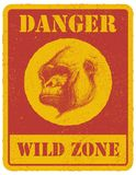 Warning sign. danger signal with gorilla. eps 8 Royalty Free Stock Image
