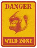 Warning sign. danger signal with gorilla. eps 8 Stock Photography
