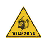 Warning sign. danger signal with gorilla. eps 8 Royalty Free Stock Images